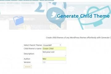 Generate Child Theme